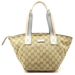 Auth Gucci Tote Bag Brown Canvas #4882G86